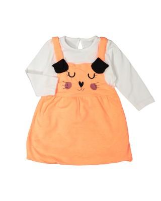 Kedi Nakışlı Balon Badili Elbise 6-24 Ay
